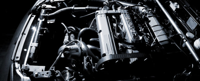 under the hood of a sports car